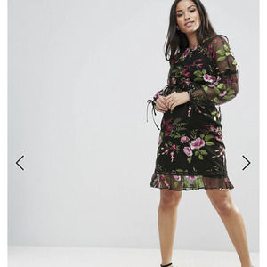 ASOS Maternity Dress Embroidered Rose 4